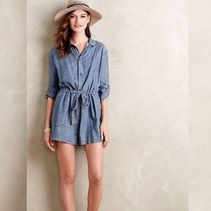 Anthropologie Level 99 Chambray Denim Romper XS